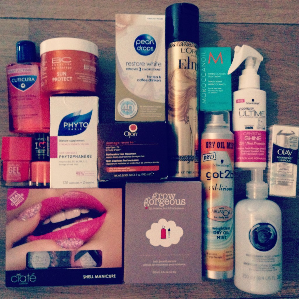 A picture of beauty products including Elnett, Moroccan Oil, Phyto Paris and Ciate Nails
