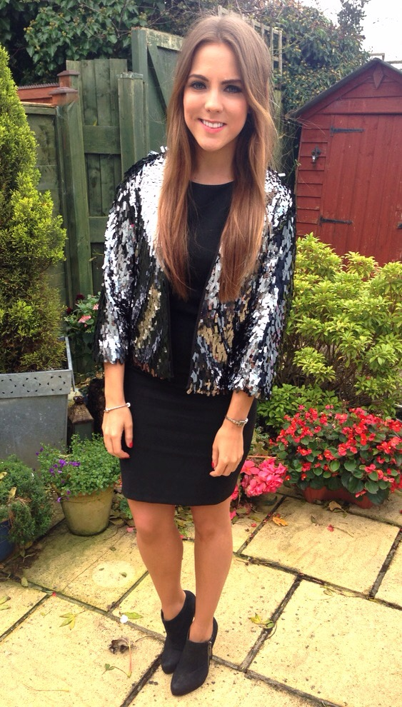 fff883d5 H&M sequin jacket and Zara black dress - Georgia Hathaway