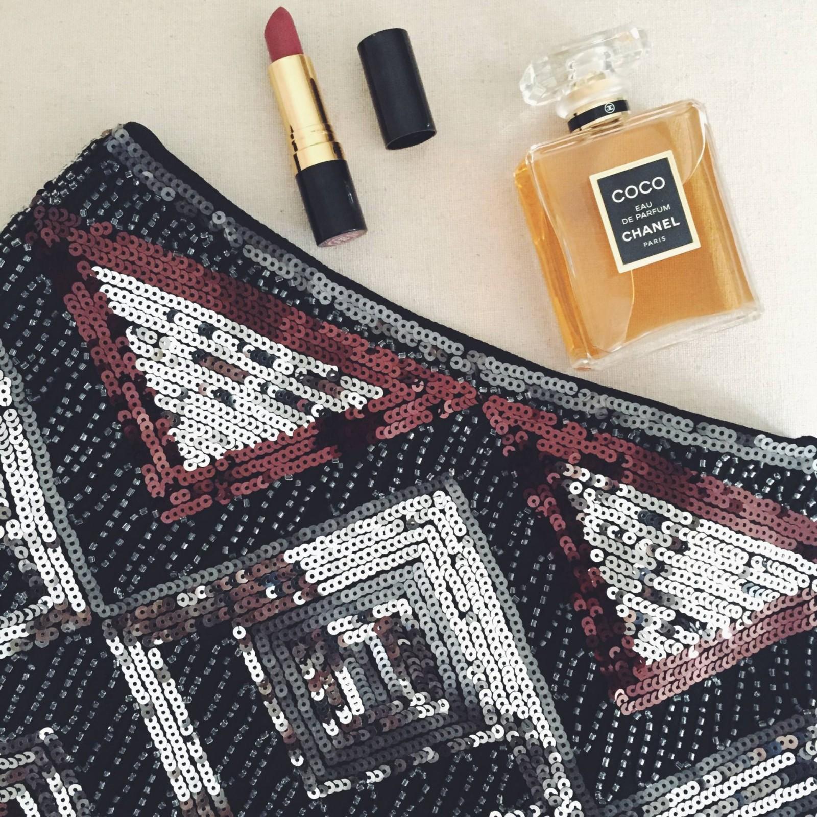 H&M sequin skirt, Revlon lipstick and Coco Chanel eau de parfum