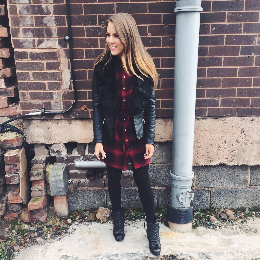 1d2d262d5ea A picture of a fashion blogger wearing a checked shirt dress