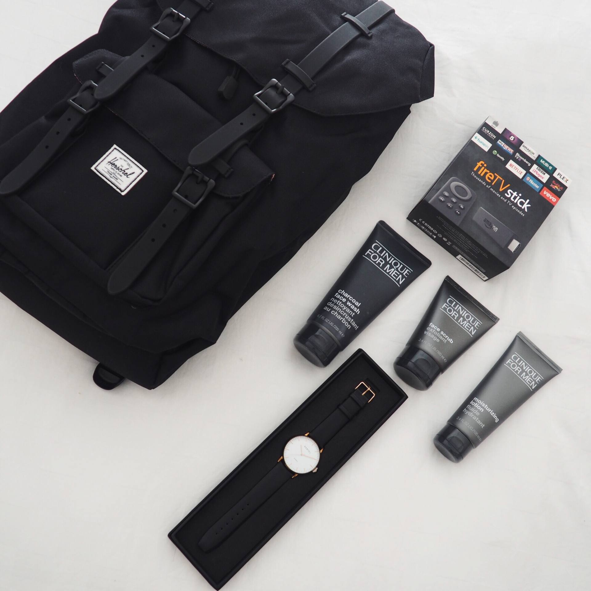 Birthday gift ideas including a Herschel Supply Co backpack, Kartel watch, Amazon Fire Stick and Clinique Skincare
