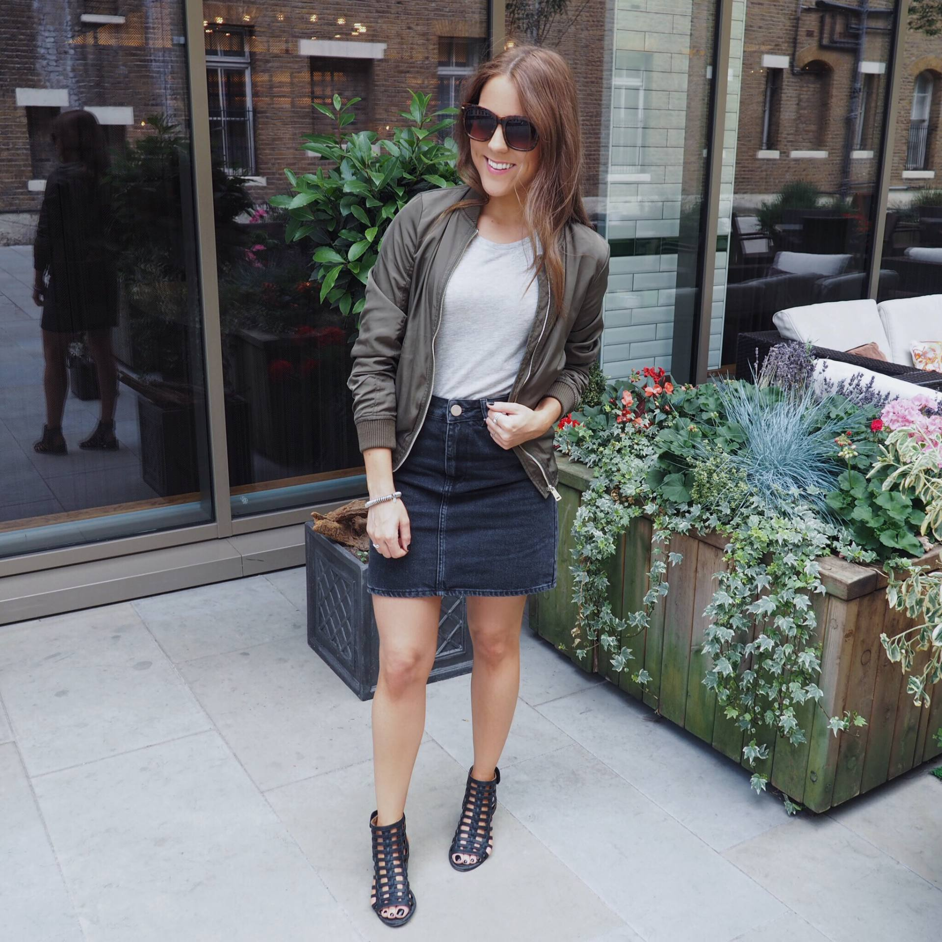 ASOS khaki  bomber jacket, ASOS white t-shirt, ASOS high-waisted black denim skirt
