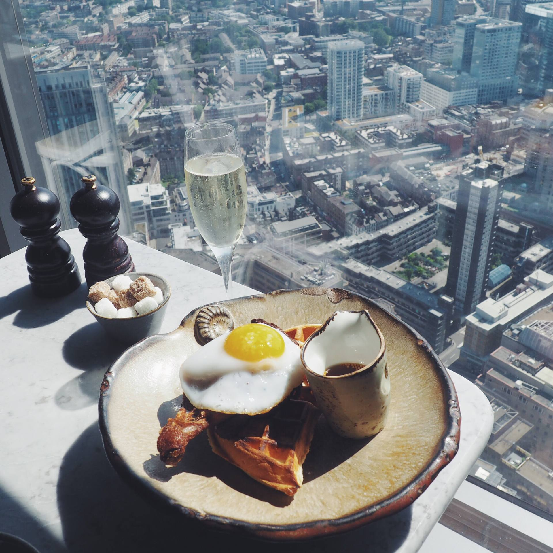 Window seat at Duck & Waffle