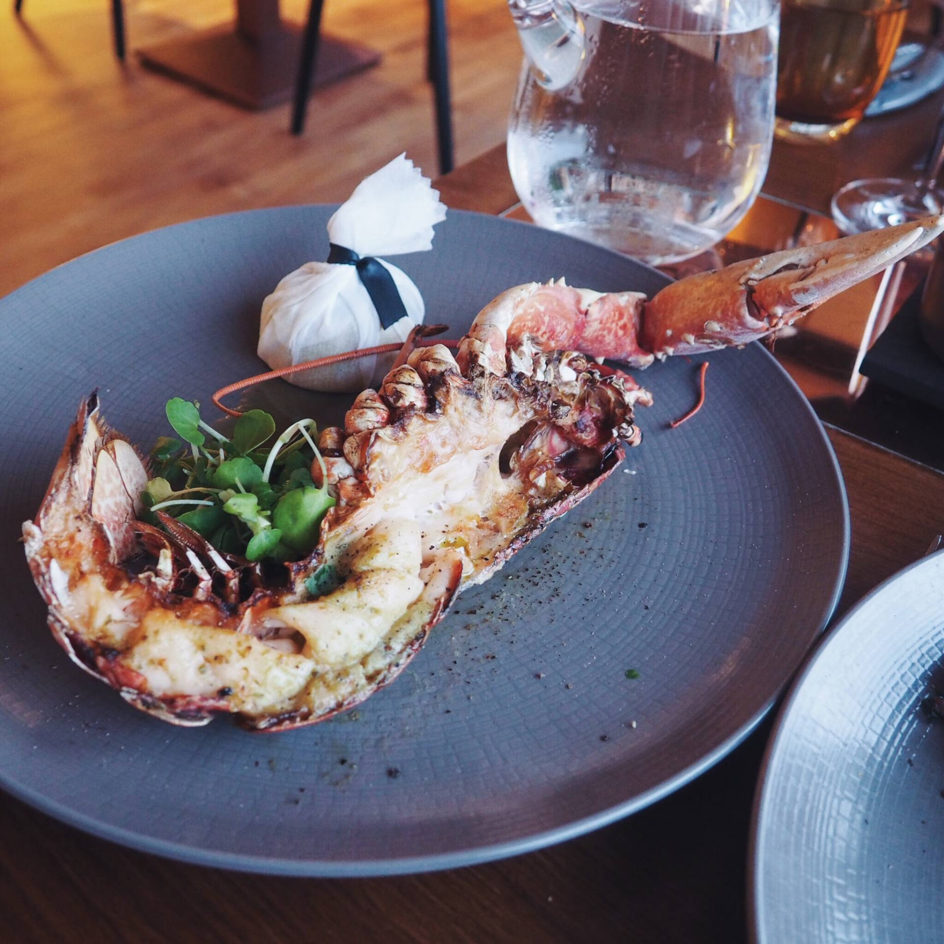 Grilled lobster tail with herb butter