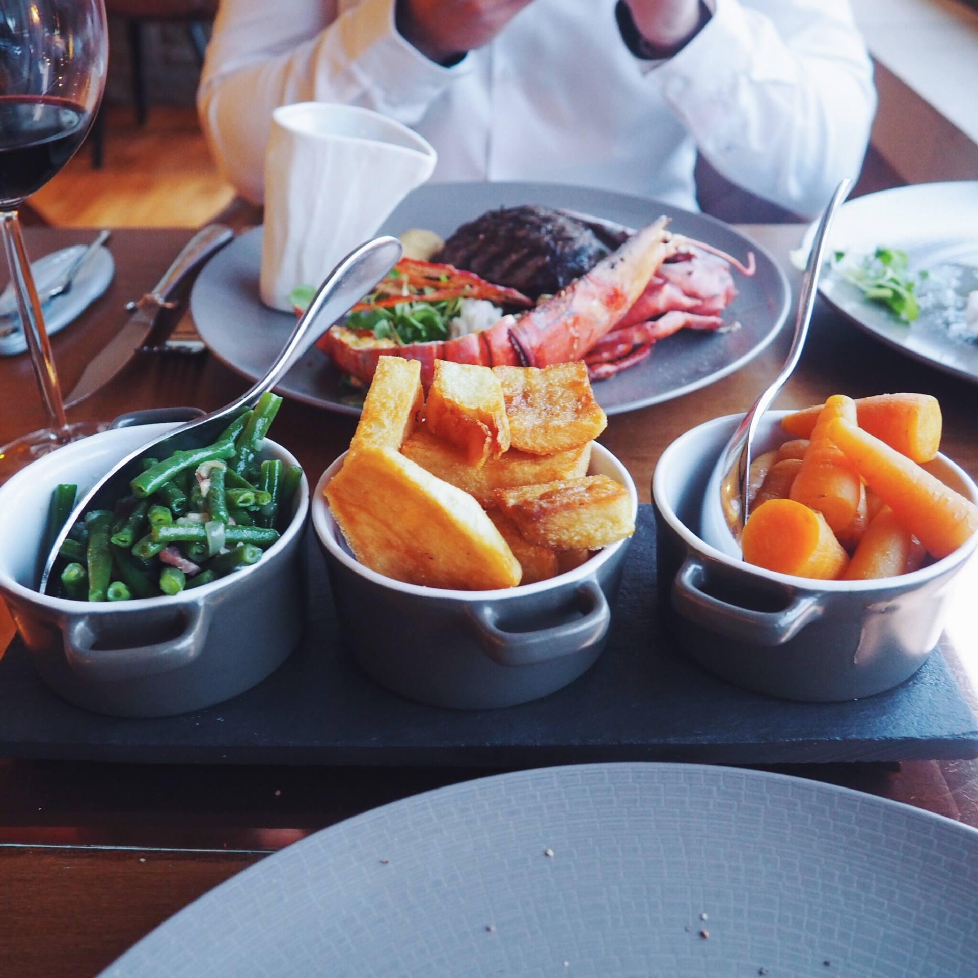 French beans, bacon and shallots, potatoes and chantenay carrots