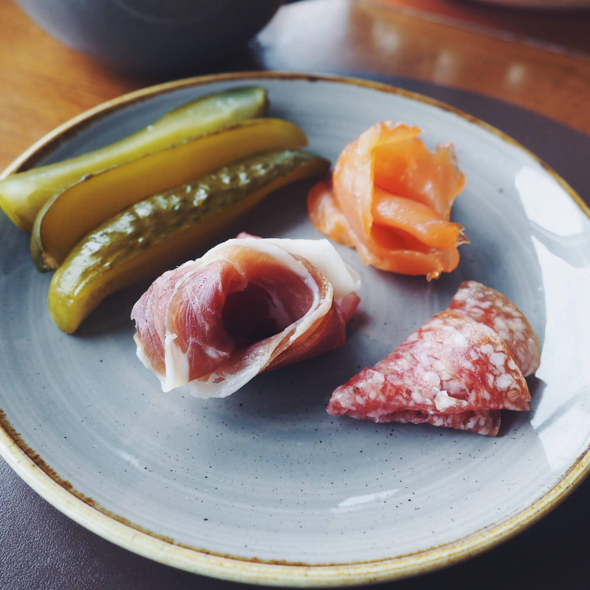 Cold meats and pickles for breakfast