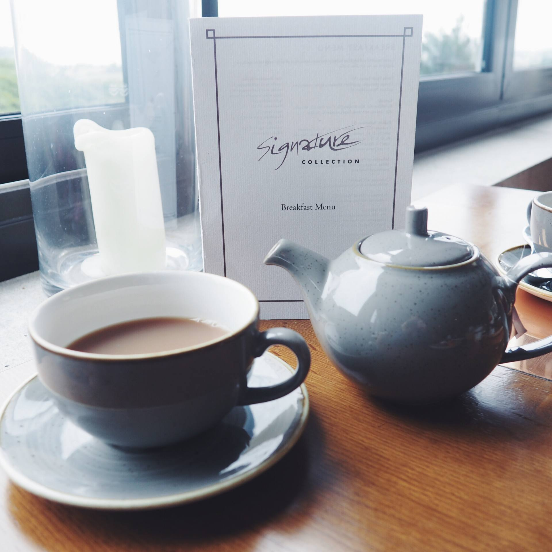 Teapot and cup of tea at the Celtic Manor Resort