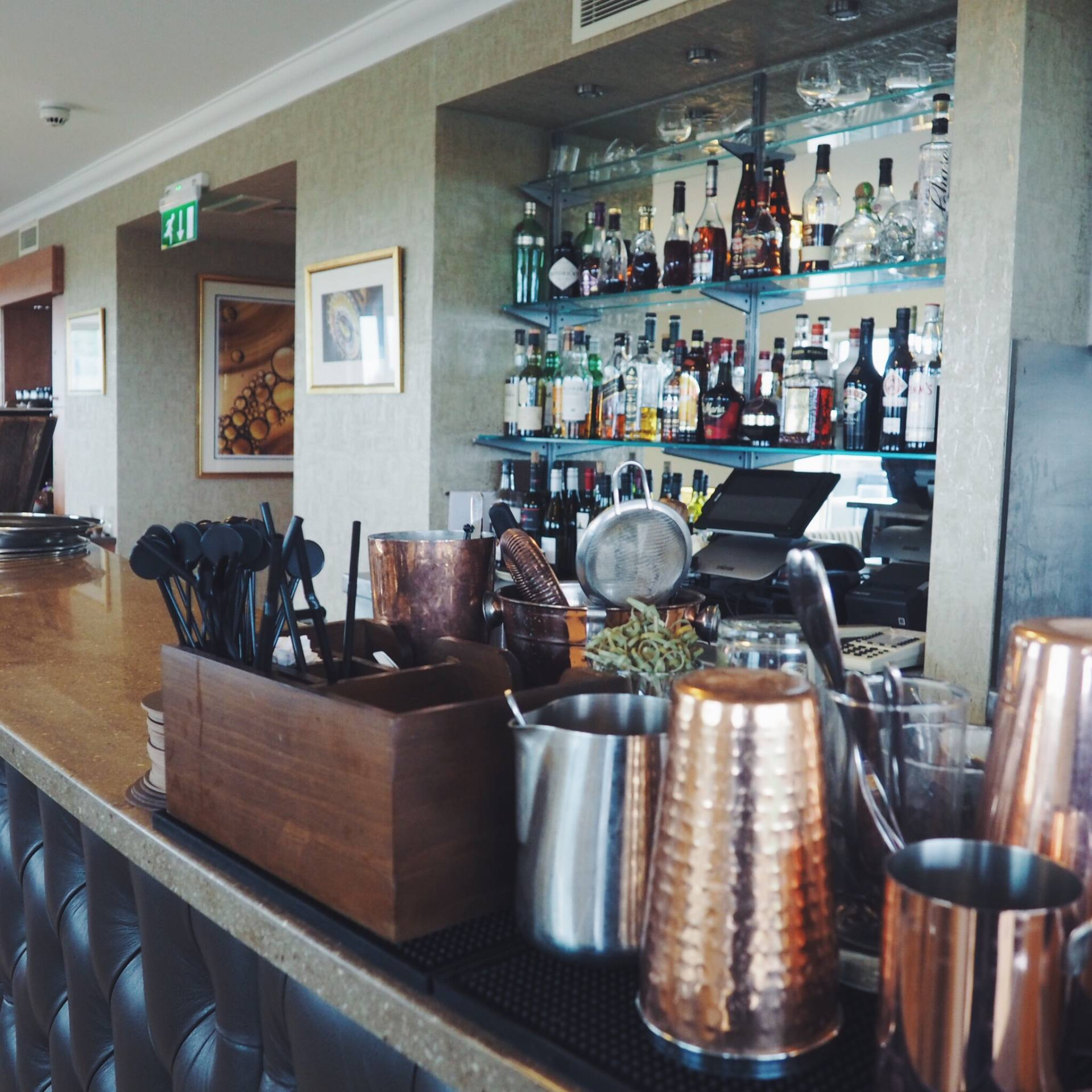 A picture of the bar in the Signature Lounge