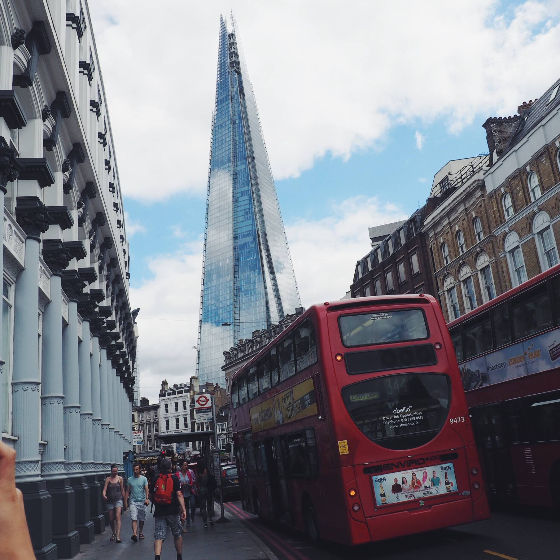 The Shard and a red bus in London