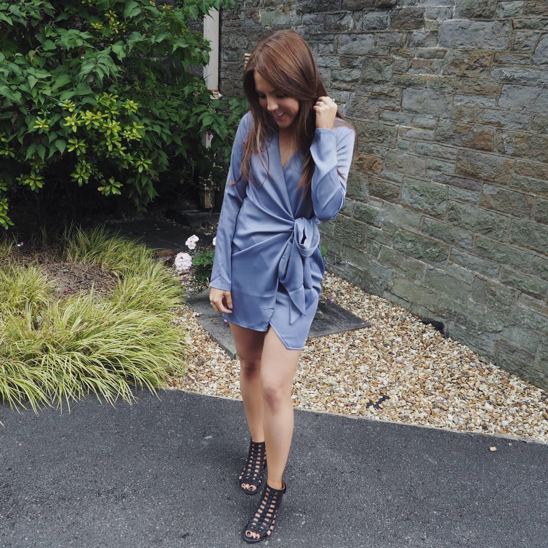 Missguided silky wrap tie waist shirt dress blue