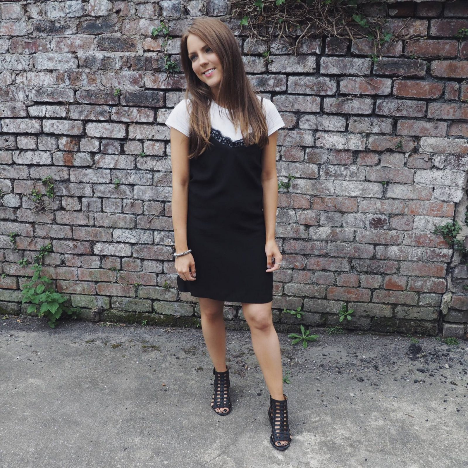 Monochrome look: ASOS black lace slip dress and crop top