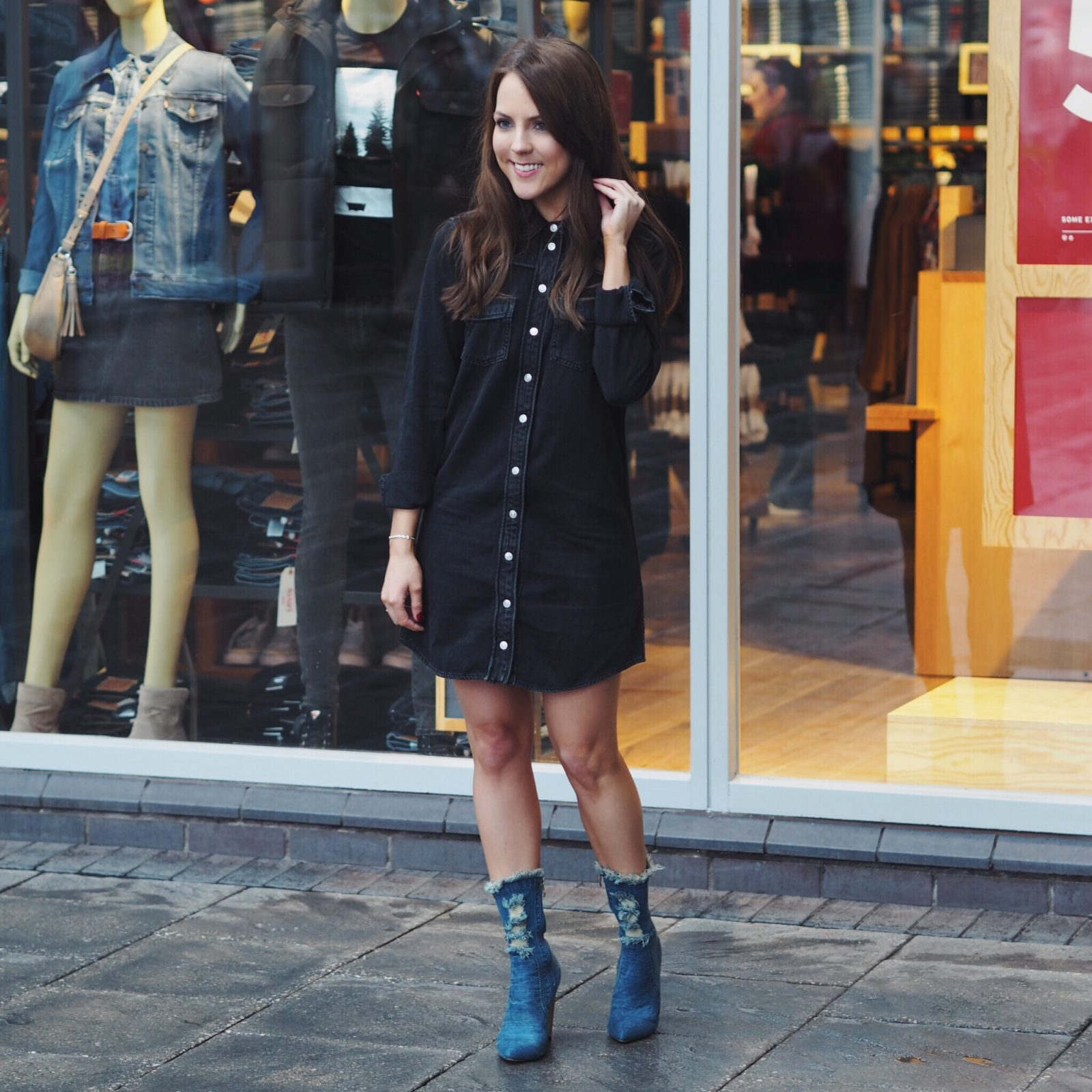 Topshop denim dress and Ego footwear