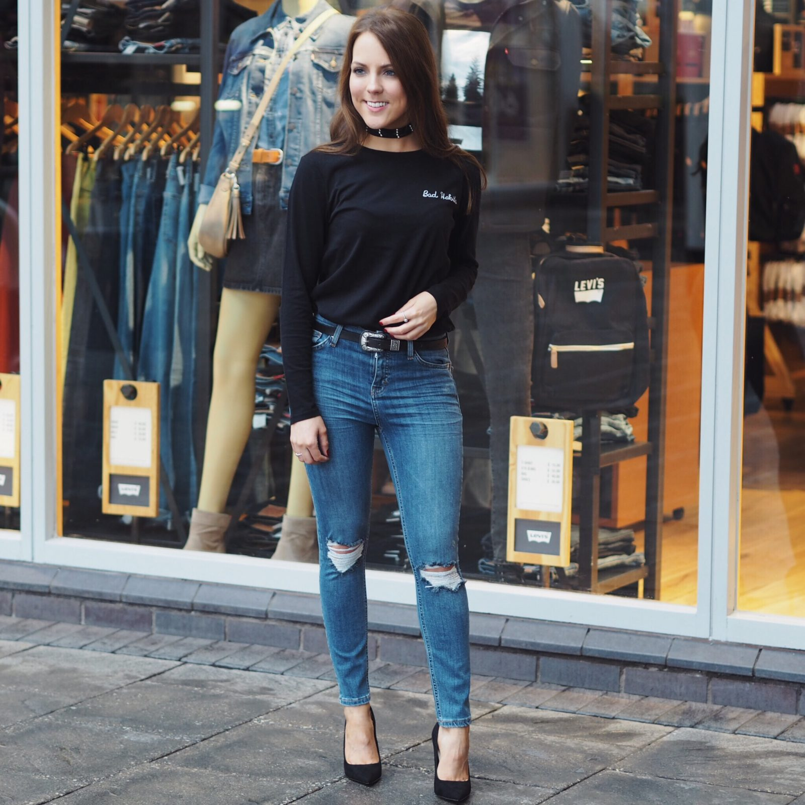 Topshop Jamie jeans, Bad Habits top and ASOS court shoes