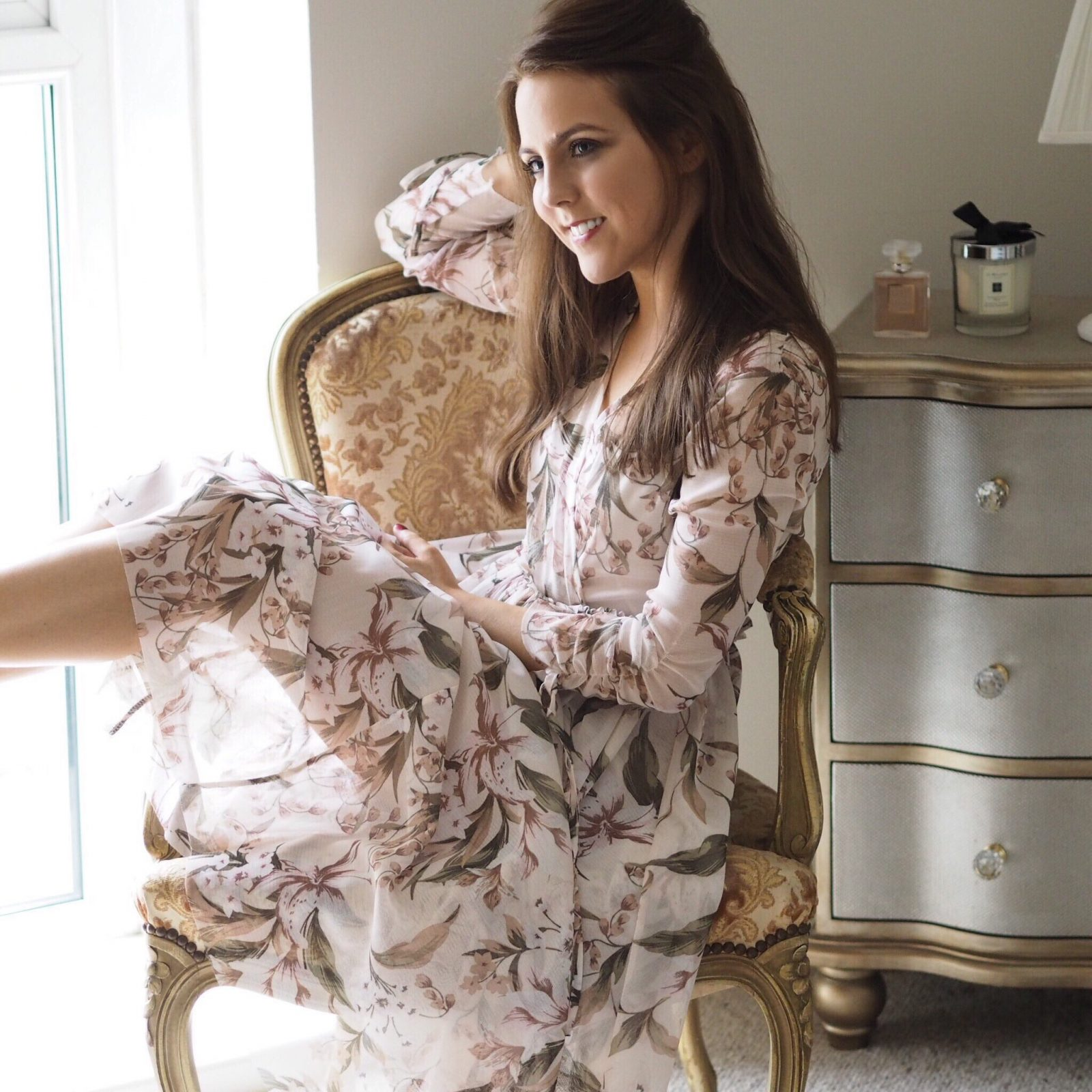 Topshop pink floral dress