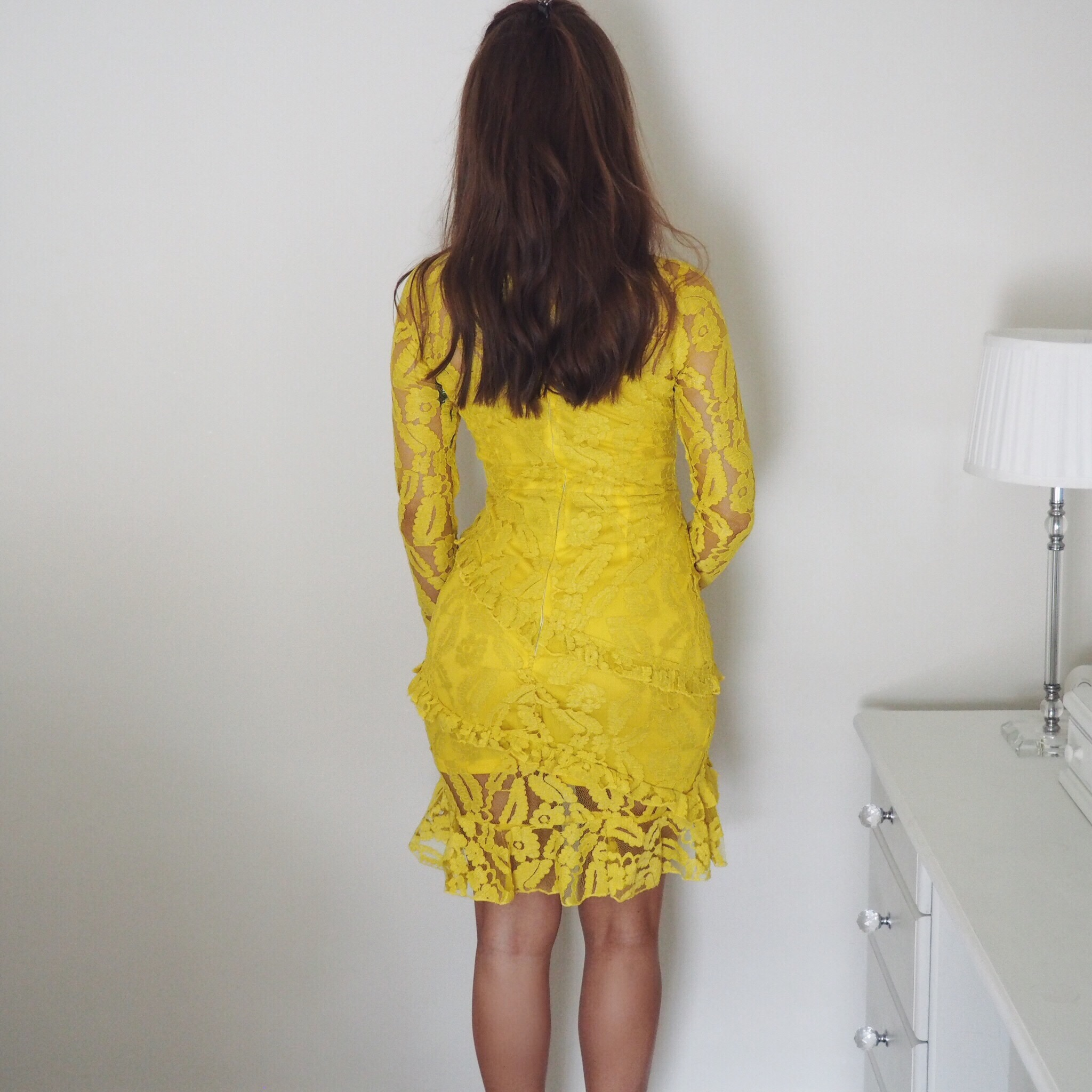 Yellow lace dress by PrettyLittleThing