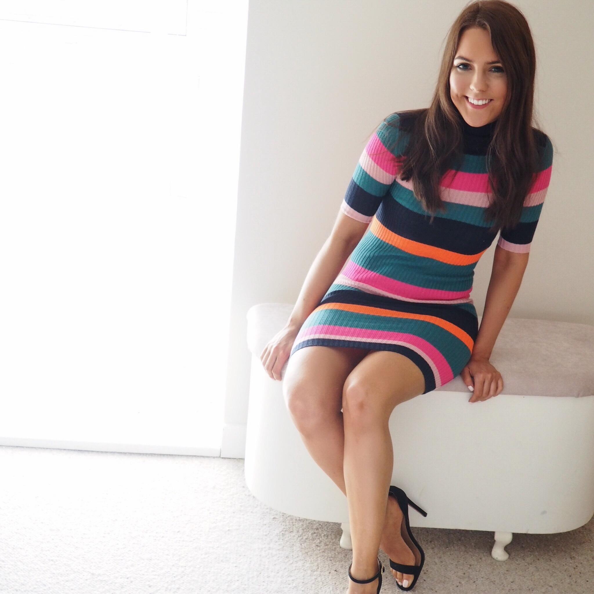 Ribbed stripe dress by Noisy May