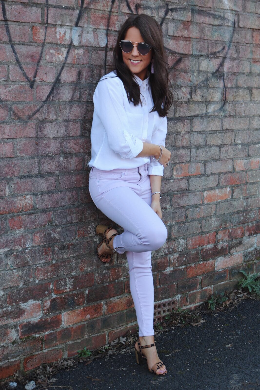 Oasis lilac jeans, Oasis white shirt