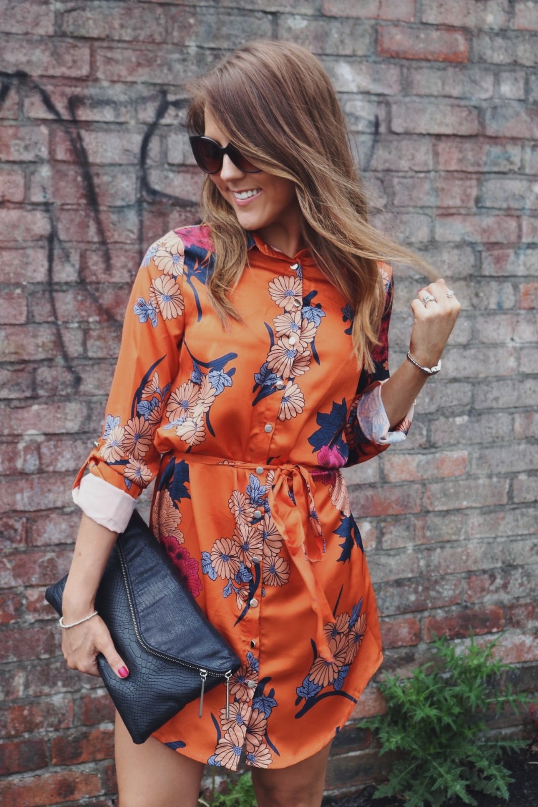 Orange floral shirt dress from IKRUSH