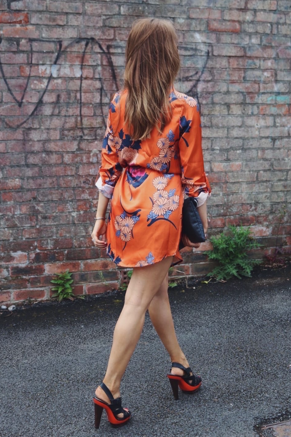 Orange floral shirt dress from IKRUSH