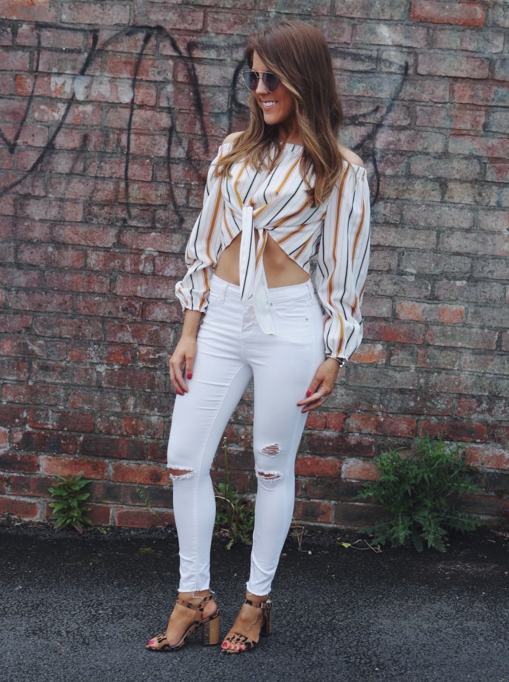Veroni stripe off shoulder top from IKRUSH